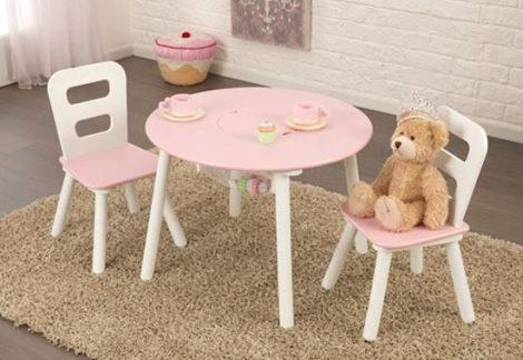 kerek játéktároló asztal és két szék, rózsaszín, Kidkraft