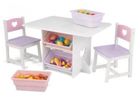 szivecskés asztal és két szék, Kidkraft