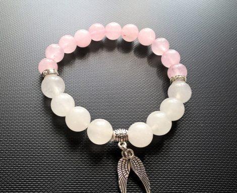Ásávny karkötő - Fehér jáde, rózsakvarc angyalszárnyakkal