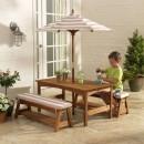 Image of Kerti asztal napernyővel és padok szett, Kidkraft - tölgy