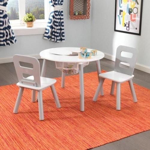 Image of Kerek játéktárolós asztal és székek szett, Kidkraft - Szürke, fehér