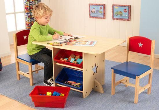 Image of Csillagos asztal játéktárolóval és 2 szék szett, Kidkraft
